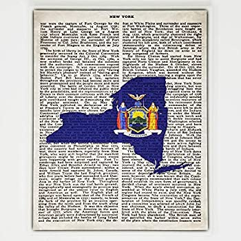New York Flag Canvas Wall Decor - 8x10 Decorative NY State Map Silhouette Encyclopedia Art Print - Ready To Hang - Home State Love Handmade Gifts - NY Decorations