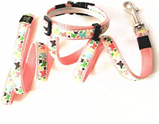 Joopet Fashion Classic Butterfly Printed Lovely Basic Nylon Pet Dog Collars Leash Made for Puppy Pet, Matching Leads & Collars Set Available Pink