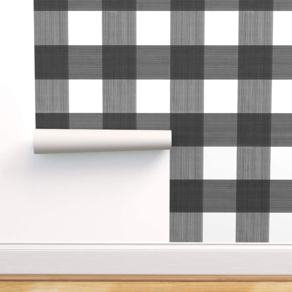Removable Water-Activated Wallpaper 超特価 - ラッピング無料 Check Gingha Buffalo Plaid