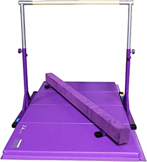 Z Athletic Adjustable Kip Bar, 4ft x 8ft x 2in Gym Mat and Off Ground Balance Beam Multiple Colors and Sizes