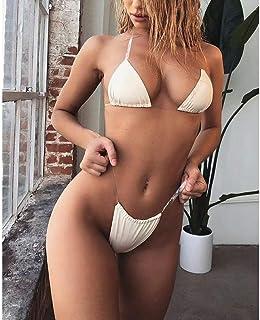 Women's Swimwear Sexy Simple Solid Color Bikini Suitable for Swimming Pool/Beach/Spa Etc,Beige (M)