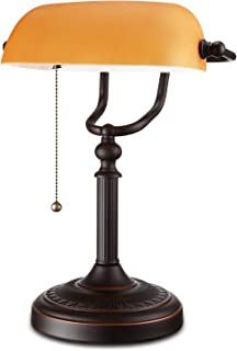 TORCHSTAR Traditional Banker's Lamp, Antique Style Matte Amber Glass Desk Lighting Fixture, Oil Rubbed Bronze Base Piano Lamp, Metal Beaded Pull Chain Switch Attached