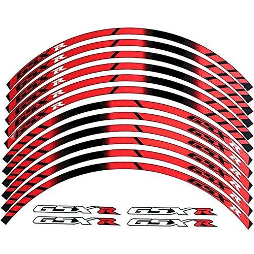 Red 10 X Custom Rim Decals Wheel Reflective Stickers Stripes for Suzuki GSXR Gixxer 1000 1300 600 750