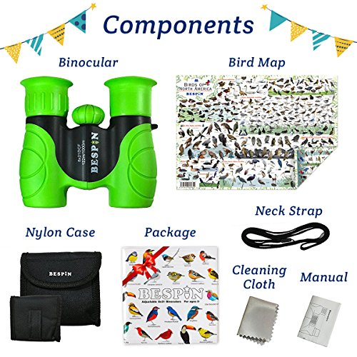 BESPIN Binoculars for Kids 8x21 Bird Watching, High-Resolution Real Optics for Wildlife Watching with Reversible Bird Map - GR -