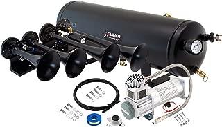 Vixen Horns Train Horn Kit for Trucks/Car/Semi. Complete Onboard System- 200psi Air Compressor, 3 Gallon Tank, 4 Trumpets. Super Loud dB. Fits Vehicles Like Pickup/Jeep/RV/SUV 12v VXO8330/4124B