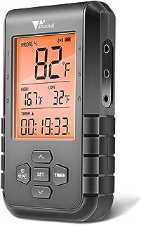Amzdeal Termometro per Barbecue Wireless, con 6 sonde e Bluetooth 5.0, Termometro per Carne, Allarme e Timer, Lettura Rapi...