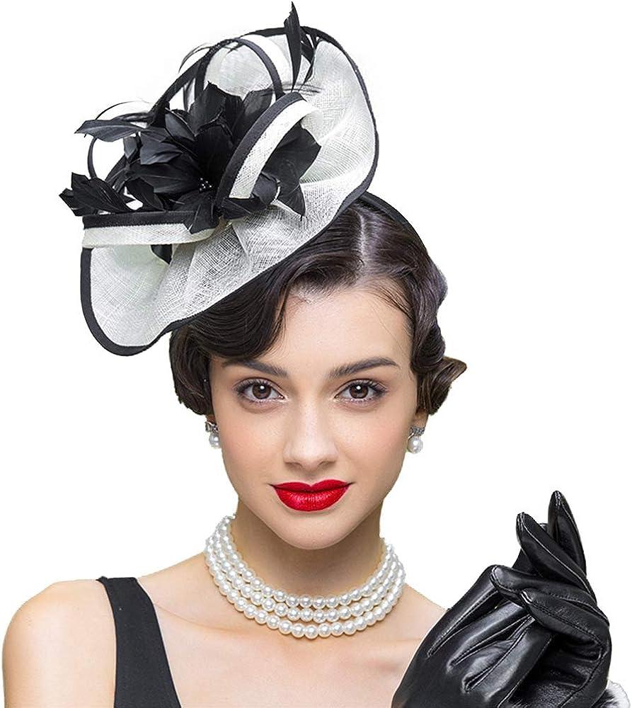 FADVES Women Sinamay Fascinator Hat Flower Tea Party Kentucky Derby Headwear