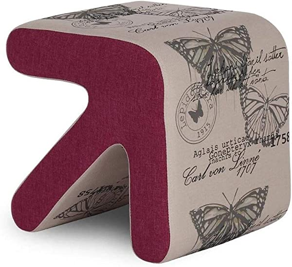 Carl Artbay Wooden Footstool Light Gray Bottom Butterfly Pattern Solid Wood Arrow Stool Shoe Shoes Leather Home Size 333133cm