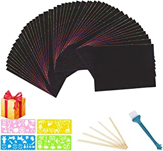 Florvine Scratch Art Paper Set for Kids 50 Sheets Rainbow Scratch Paper Combo Kit, Black Scratch Paper Art Craft with 5 Wo...