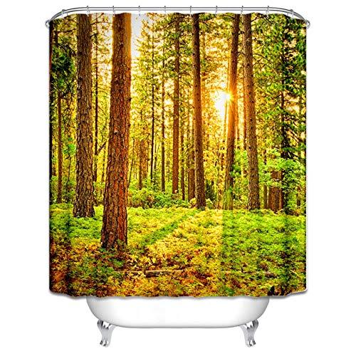 Aeici Badewannenvorhang Wald Duschvorhang Aufhängung Polyester Duschvorhang Bunt 180X180CM