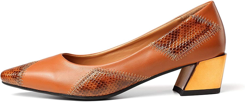 Mao YiE Women Elegant Dress shoes Pointed Toe Square Heel Luxury Pumps Dress shoes