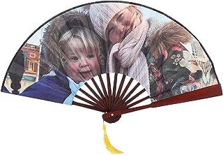 Souljewelry Abanico de Mano Ventiladores Plegables de Mano Personalizado con su Foto de Familia Material de Seda y Bambú Estilo Chino para Mujeres