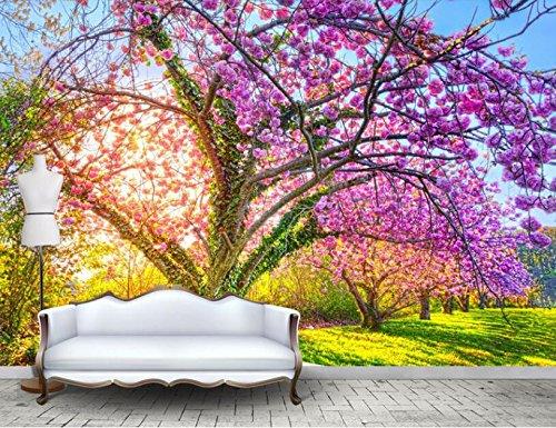 WH-PORP Fototapete 3D Tapete Schöner Garten Kirschbaum Sakura Bloom Blossom Wand Hintergrund 3D Tapete Wandbild-128cmX100cm