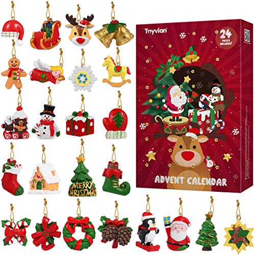 Toyvian Countdown to Christmas Advent Calendar with 24Pcs Christmas Tree Hanging Ornaments for Xmas Holiday Decor