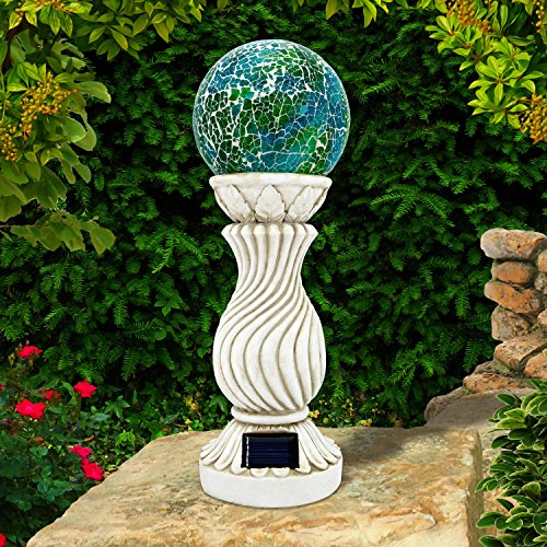 Mosaik-Solarkugel auf Säule, Outdoor-, Garten-Dekoration