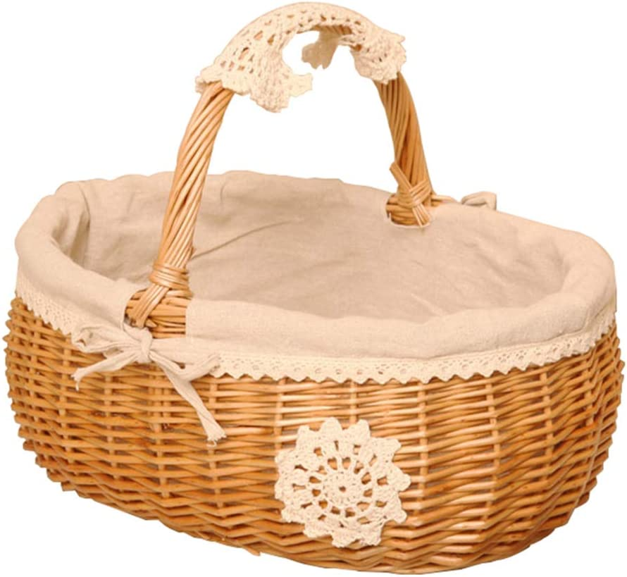 Basket Max 46% OFF Idyllic Rattan Storage with Hand-Woven Wi Shopping Sales for sale Handle