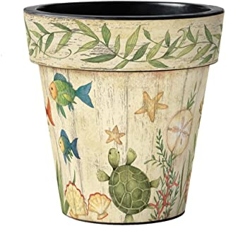 Studio M Art Planter Designer Plant Pot, 18 x 18-inches, Sea Friends