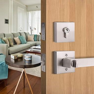 Set of 2 GOBEKOR Square Keyed-Alike Front Door Entry Lever Lockset and Double Cylinder Deadbolt Combination Sets with Same Ke