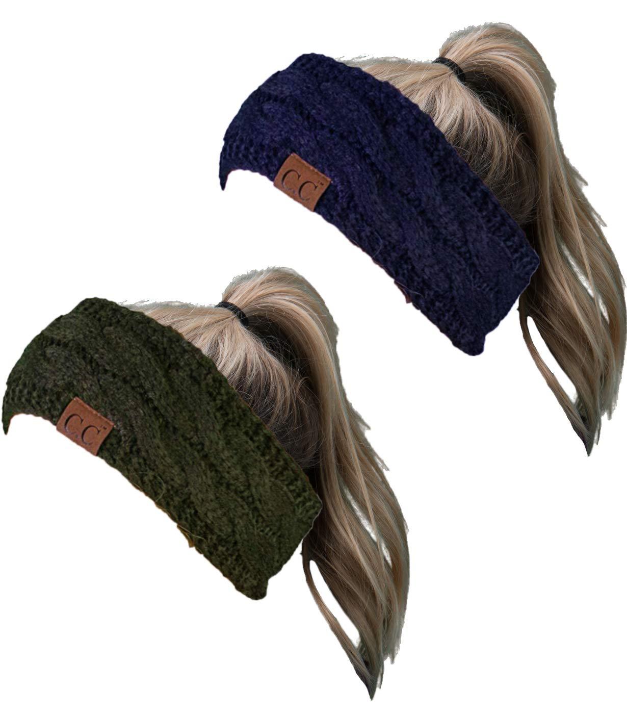 HW-6033-2-20a-3133 Headwrap Bundle - Solid Navy & Solid Olive (2 Pack)