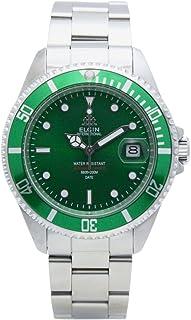 [エルジン]ELGIN 腕時計 200M防水 オートマ 日本製ムーブメント 逆回転防止ベゼル オールステンレス グリーン×シルバー FK1405S-GR メンズ