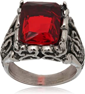 Vintage Crystal Ring with Red Crystal Stainless Steel Size 10