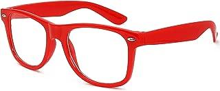 Skeleteen Red Clear Lens Glasses - 80's Style Non Prescription Retro Frames Nerd Costume Eyeglasses