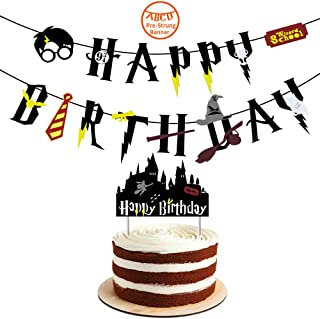 YoHold Wizard Happy Birthday Banner and Cake Toppers for Wizard Birthday Party Supplies Decorations; 1 Pre-Strung Banner and Cake Toppers, Black