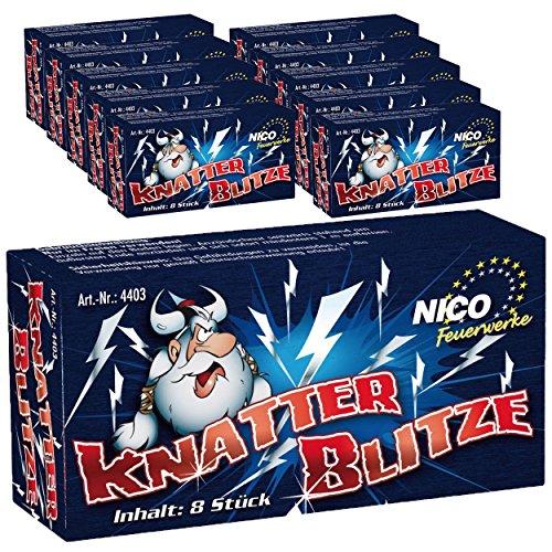 Knatterblitze von Nico 80 Stk. / 10 Schachteln - Jugendfreies Silvester Feuerwerk - Knatter Blitz