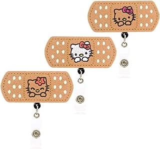 YOROYAL 3 Pack Cute Cat Badge Reel, Alligator Clip Retractable ID Badge Holder