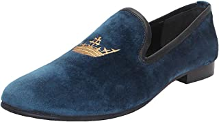 Bareskin Blue Velvet Designer Slip-On Shoe with Golden Crown Embroidery Design for Men