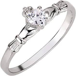 Cubic Zirconia Benediction of The Claddagh Ring Sterling Silver (Color Options, Sizes 1-13)