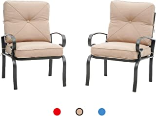 Oakmont 2 Piece Outdoor Furniture Patio Bistro Chairs Metal Dining Furniture Set, All-Weather Garden Seating Chair (Brown)