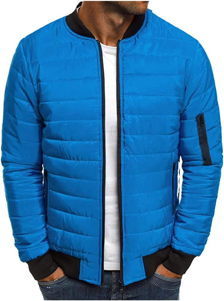 Men's Packable Down Jacket, NRUTUP Lightweight Quilted Jacket with Stand Collar Winter Warm Puffer Jacket Work Casual