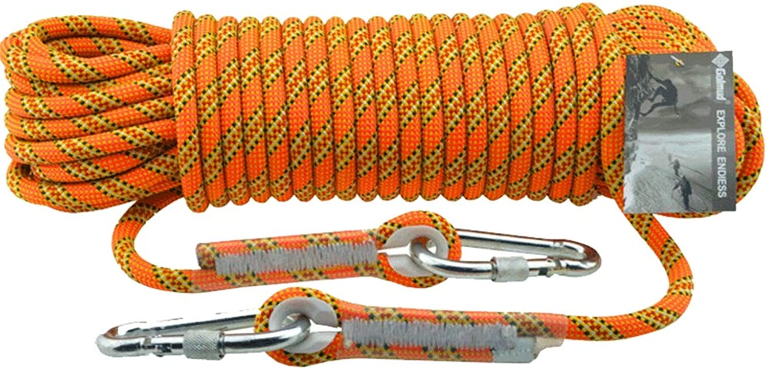 Outdoor Rock Climbing Rope  11mm Hiking Power Rope High Strength Fire Escape Safety Cord Parachute Rappelling Rope,orange,10m