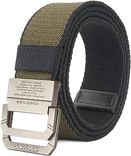 Cinturón táctico casual de doble hebilla con anilla en D de lona militar para hombres