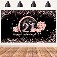 lovedomi 9x6ft 女の子の甘い21歳の誕生日ローズゴールドポルカドットスパンコールボケバルーン写真背景写真スタジオブースの背景家族の休日の誕生日パーティー写真スタジオ小道具ビニール素材