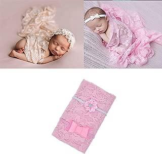 Newborn Baby Photography Wrap Props Newborn Girl Boy Photo Swaddle Blanket Long Ripple Wrap Lace Flower Bow Headbands (1 Pink)