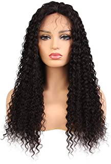 Hair Extension Weave Fashian Front Lace Wig Curly Real Hair Full Hand Woven Wig 150% Beautiful Hairpieces (Color : Black, Size : 12 inch)