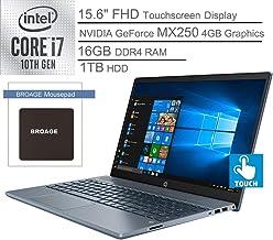 "2020 HP Pavilion 15 15.6"" FHD Touchscreen Laptop Computer, 10th Gen Intel Quard-Core i7 1065G7, 16GB DDR4 RAM, 1TB HDD, NVIDIA GeForce MX250 4GB, 802.11AC WiFi, Fog Blue, Windows 10, BROAGE Mouse Pad"