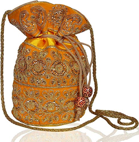 Rain Bag (Clutch, Drawstring Purse) For Women With Intricate Gold Thread & Sequin Embroidery Work,Yellow