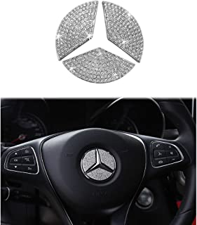 1797 Mercedes Benz Accessories Interior Decorations Steering Wheel Logo Cover B C E S CLA CLS GLA GLC GLE GLK GLS Class Parts Modification Metal Crystal Rhinestone Silver Man Women Cool 3pcs