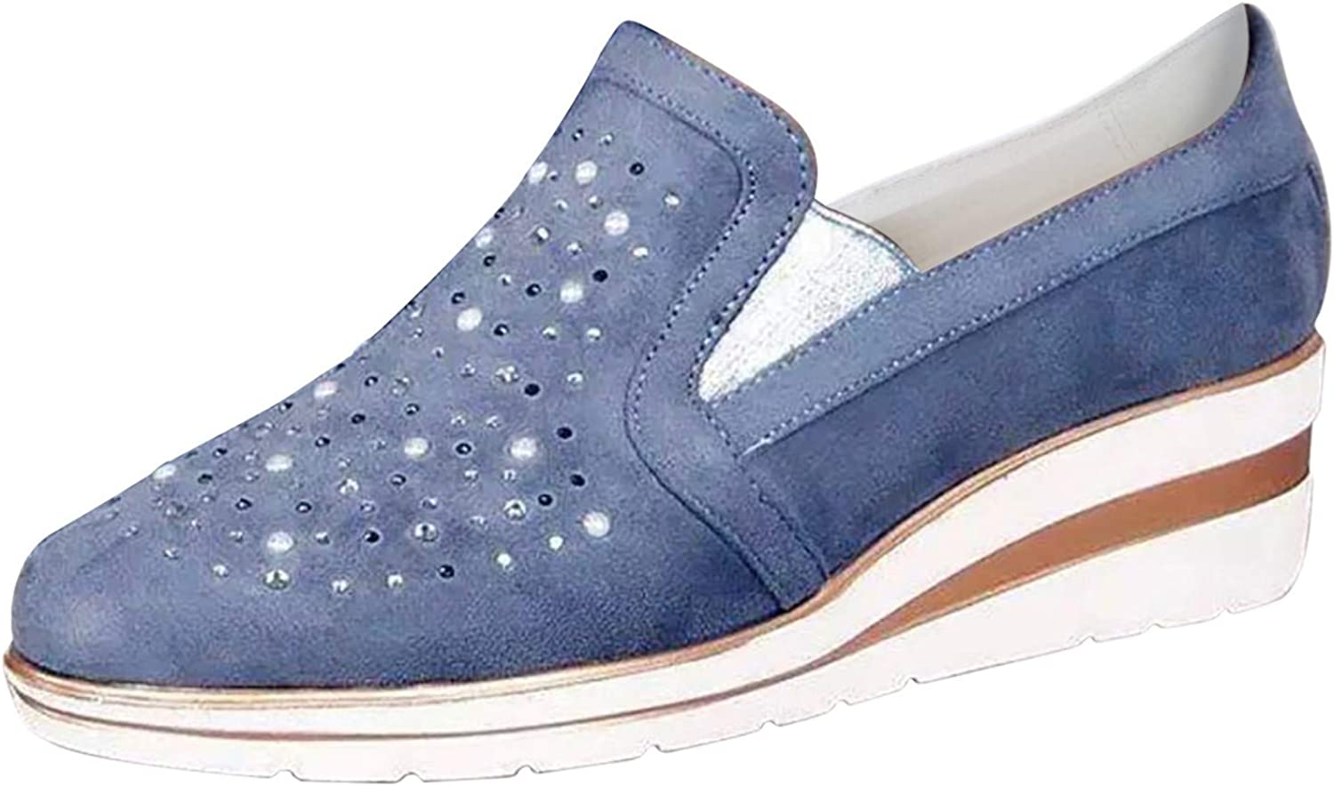 SCIHTE Women's Slip on Loafers Round Bombing free shipping Platform Wedge Shoes Toe Ca Las Vegas Mall