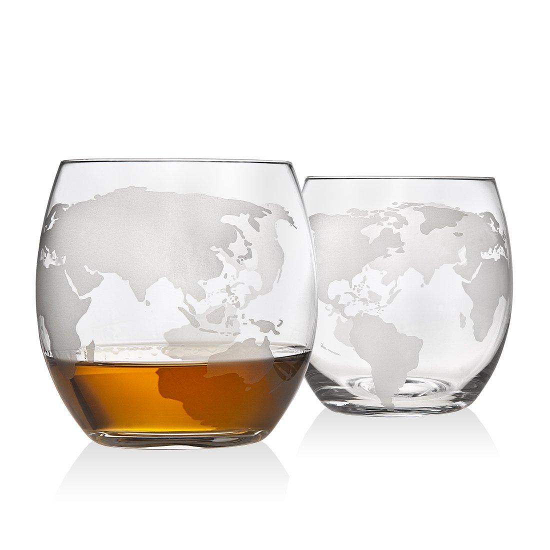 Godinger Fashioned Whiskey Glasses Etched