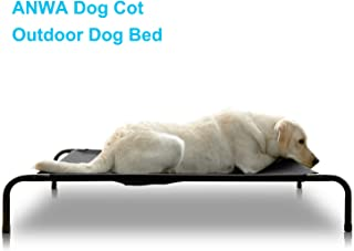 ANWA Elevated Dog Cot Bed, Outdoor Dog Bed Large Dogs, Durable Dog Raised Bed, Dog Hammock for Small Medium Large Dogs