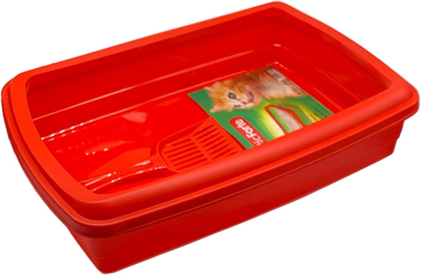 Bandeja para Gatos 47 x 31 x 11cm, Productos para Mascotas, Arena y Limpieza del hogar, arenero de Gato con Pala (Rojo)