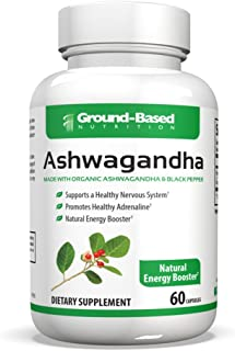 Ground-Based Nutrition Organic Ashwagandha Capsules - Anxiety Relief - Adrenal, Mood and Thyroid Support - 100% Pure Ashwagandha with Black Pepper - 60 Pills