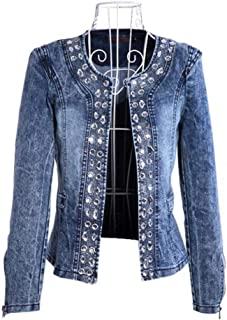 Nobrand TGLAYA Spring Antumn Denim Jackets Vintage Diamonds Casual Coat Women Outerwear
