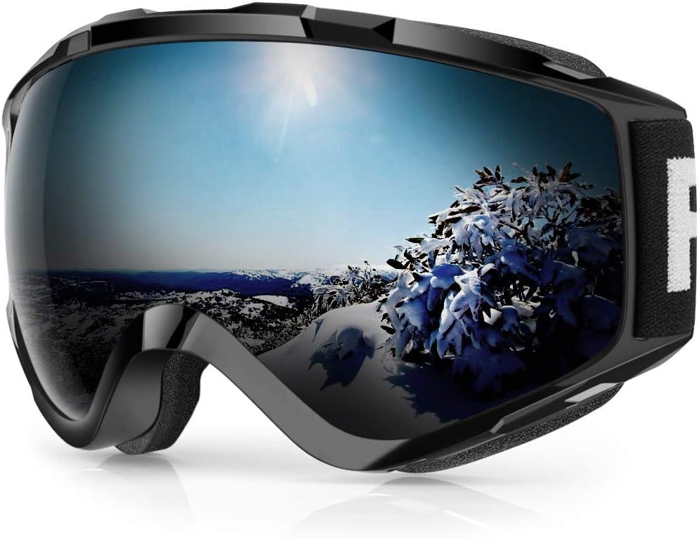 findway Gafas de Esquí, Máscara Gafas Esqui Snowboard Nieve Espejo para Hombre Mujer Adultos Juventud Jóvenes OTG Compatible con Casco,Anti Niebla 100% Protección UV Gafas de Ventisca