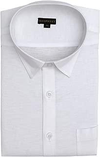 BLUEPOCKET Linen Cotton Formal Shirt for Men. Regular Fit, White Color, Full Sleeves, Rounded Hemlines.