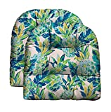 RSH Décor Indoor Outdoor Scroll & Medallion Prints - 2 U-Shape Wicker Tufted Seat Cushions - Patio Weather Resistant - Choose Color (Vida Opal Yellow Green Blue Lily Pineapple)